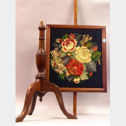 Federal-style Mahogany Pole Screen with Floral Needle and Berlinwork Panel.