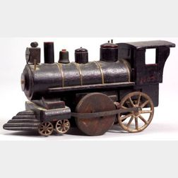 Carved and Painted Wood and Cast Iron Locomotive