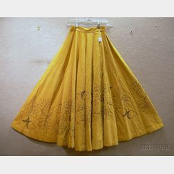 Vintage Embroidered Corduroy Skirt