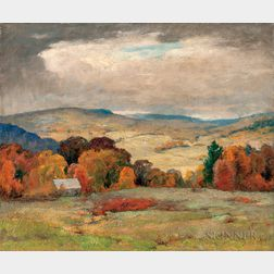 Jonas Joseph LaValley (American, 1858-1930)      Cloud Shadows in October, Vermont