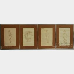 Continental School, 20th Century      Four Framed Ink Drawings of Standing Nudes.