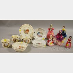 Group of Children's Tableware Items and Five Royal Doulton Female Figurines