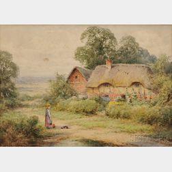 British School, 19th/20th Century      Three Watercolors of Village Scenes    Albert Caussin, Donkey Cart by Row Houses