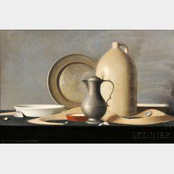 Robert Douglas Hunter (American, b. 1928)      Pewter, Crockery & Sand