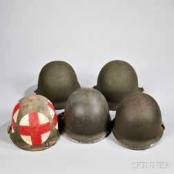 Five M1 Helmets and Liners