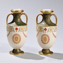 Pair of Wedgwood Ivory Glazed Porcelain Vases