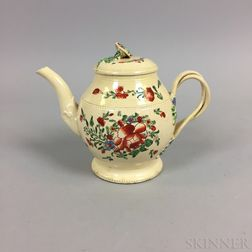Leeds Creamware Floral-decorated Ceramic Teapot