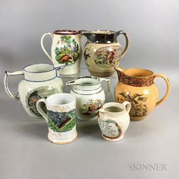 Seven Transfer-decorated Ceramic Jugs and Mugs with Lustre Accents