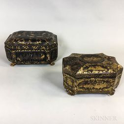 Chinese Export Lacquered Octagonal Tea Caddy and Sewing Box