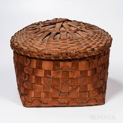 Large Covered Native American Paint-decorated Basket