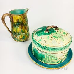 Majolica Ceramic Covered Dish and Bamboo Pitcher