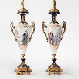 Pair of Limoges Porcelain Lamp Bases