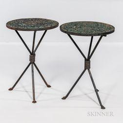 Pair of Cast and Wrought Iron Garden Tables