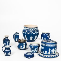 Ten Pieces of Wedgwood Dark Blue Jasperware