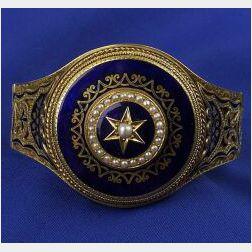 Victorian 14kt Gold and Enamel Bangle Bracelet with Locket