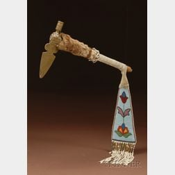 Northern Plains Tomahawk and Beaded Hide Drop