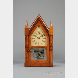 "Mahogany Miniature Sharp Gothic or ""Steeple""  Torsion Pendulum Clock, by Theodore Terry & Company"