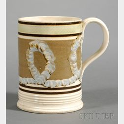 Mochaware Pint Mug with Earthworm Decoration
