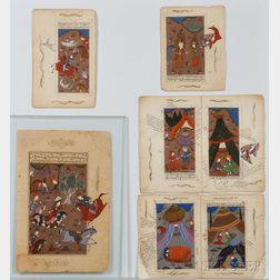 Seven Painted Manuscript Pages