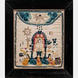 Painted Silk Masonic Apron