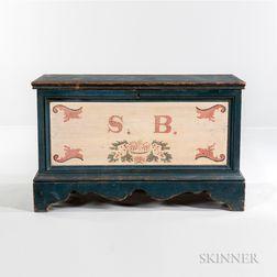 "Paint-decorated Poplar Blanket Chest ""S.B.,"""