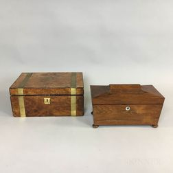 English Rosewood Casket-form Tea Caddy and a Brass-bound Burl Lap Desk
