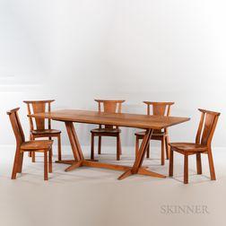 Thomas Moser Edo Trestle Table and Five Edo Chairs