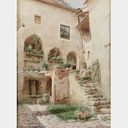Lot of Two Watercolors Including:  Richard Moser (Austrian, b. 1874), The Courtyard;