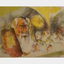 Lot of Two Color Lithographs by Chaim Gross (American, 1904 - 1991)      In the Synagogue