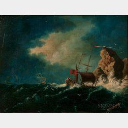 William LeStrange (British, 1782-1846)      Vessels in Storm