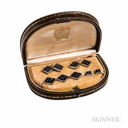 Art Deco Platinum and Sapphire Dress Set, Cartier