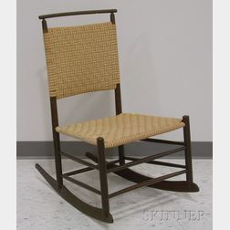 Mt. Lebanon Shaker Maple Production Rocking Chair with Woven Tape Back and Seat