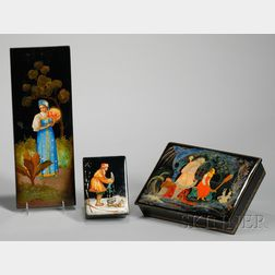 Russian Hand-painted Scenic Decorated Lacquerware Panel and Two Boxes