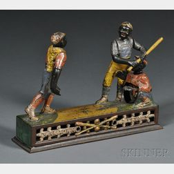 """Cast Iron """"Darktown Battery"""" Mechanical Baseball Bank"""