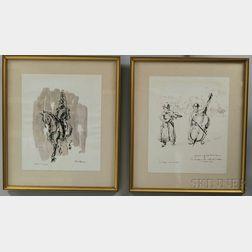 Felix Fabian (British, 20th Century)      Two Drawings: Village Musicians