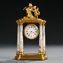 Viennese Gilt-bronze and Enamel Figural Mantel Clock