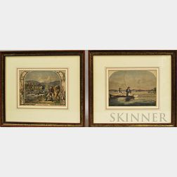 Two Framed Hand-colored Fishing Engravings