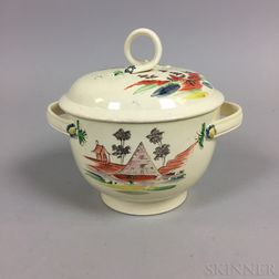 Leeds Creamware Covered Bowl