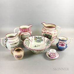 Eight Staffordshire and Sunderland Transfer-decorated Pink Lustre Items