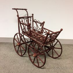 Red-painted Rattan Doll Carriage