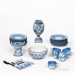 Group of Modern Wedgwood Light Blue Jasperware