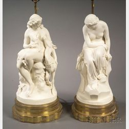 Two Parian Figural Lamps