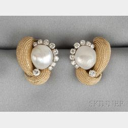18kt Gold, Cultured Pearl, and Diamond Earclips, David Webb