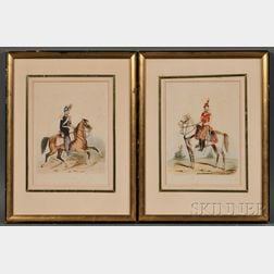Continental School, 19th Century      Lot of Two Watercolors of French Cavalry Officers:  France Garde Impériale 1864