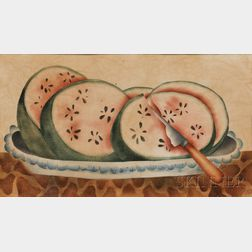 Linda Carter Lefko (New York State, 20th/21st Century)      Theorem with Watermelon Slices on a Blue Feather-rimmed Platter.