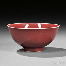 Red-glazed Porcelain Bowl
