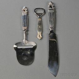 Three Georg Jensen Acorn   Pattern Sterling Silver Serving Pieces