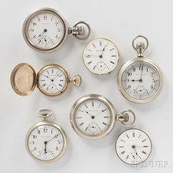 Seven Seth Thomas Pocket Watches and Movements