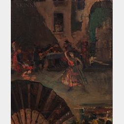 American/European School, 19th/20th Century      Dancer with Fan in Foreground