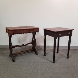 Late Classical Mahogany Veneer Sewing Stand and a Federal Cherry One-drawer Stand